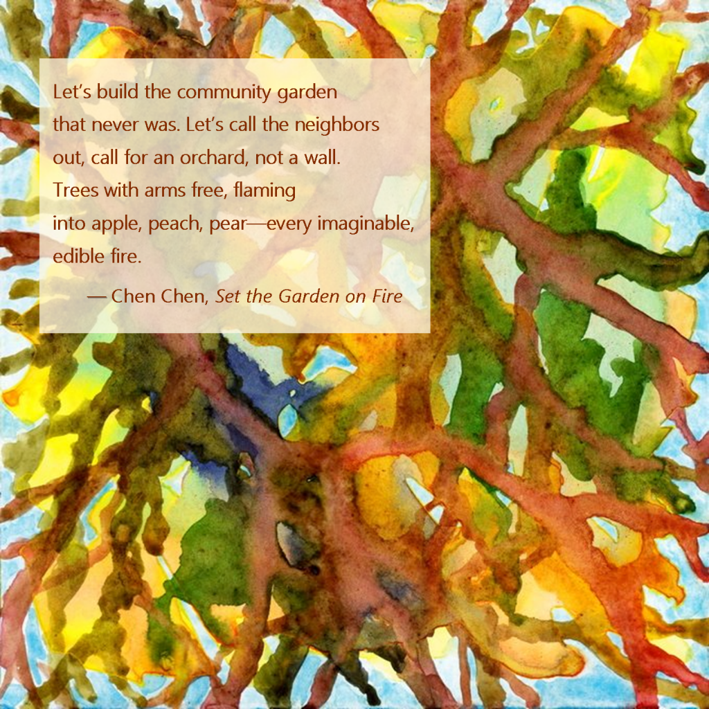 Artistic tree image on greeting card with poetry