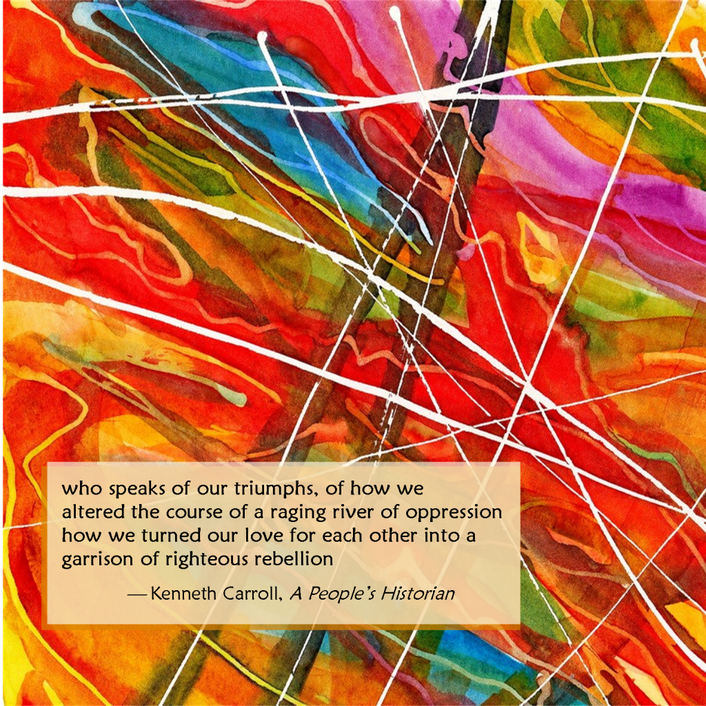 rainbow water color lines on greeting card with poetry