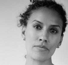 Black and white photo of Aracelis Girmay