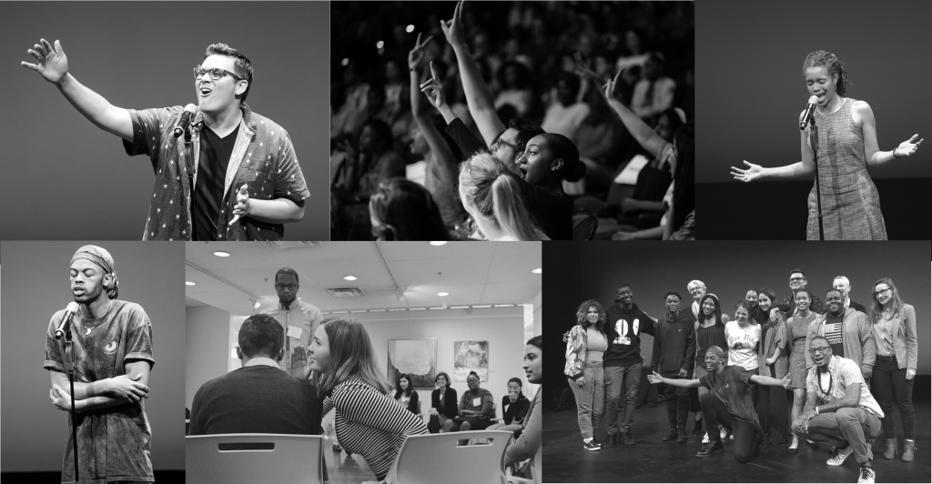 Multiple black and white images of youth programs in action, including youth poets on stage performing poems, youth sitting together at a workshop, youth posing for a group picture, and youth in the audience at an event cheering.