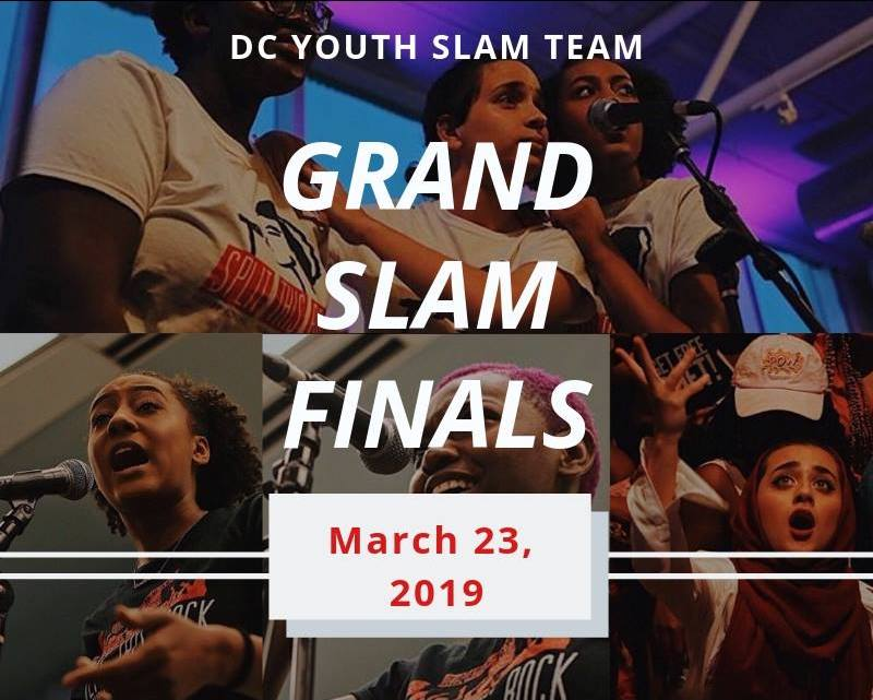 Flyer for Grand Slam Finals which includes a collage of images of youth poets mostly standing at microphones wearing Split This Rock t-shirts.
