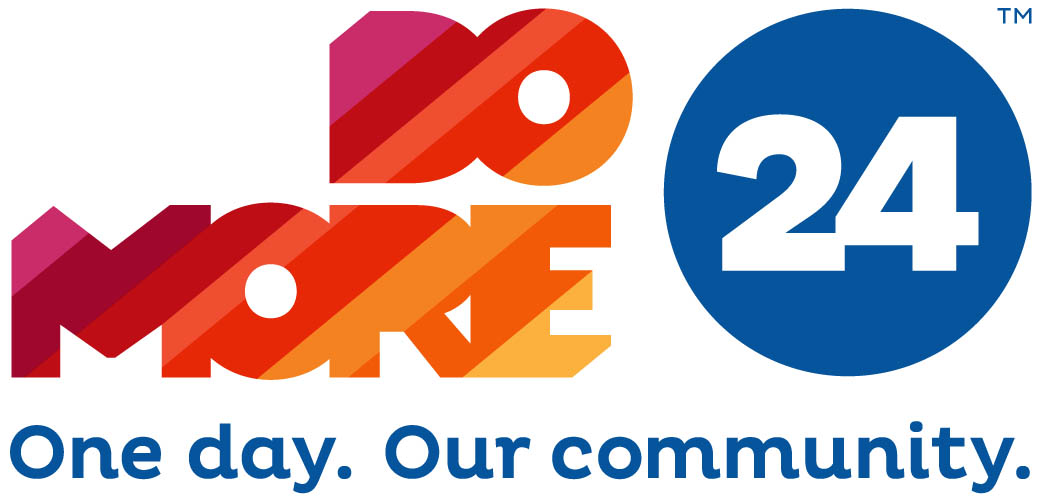 Image of Do More 24 logo including the words Do More 24, One Day, Our Community in shades of red, orange, and blue.