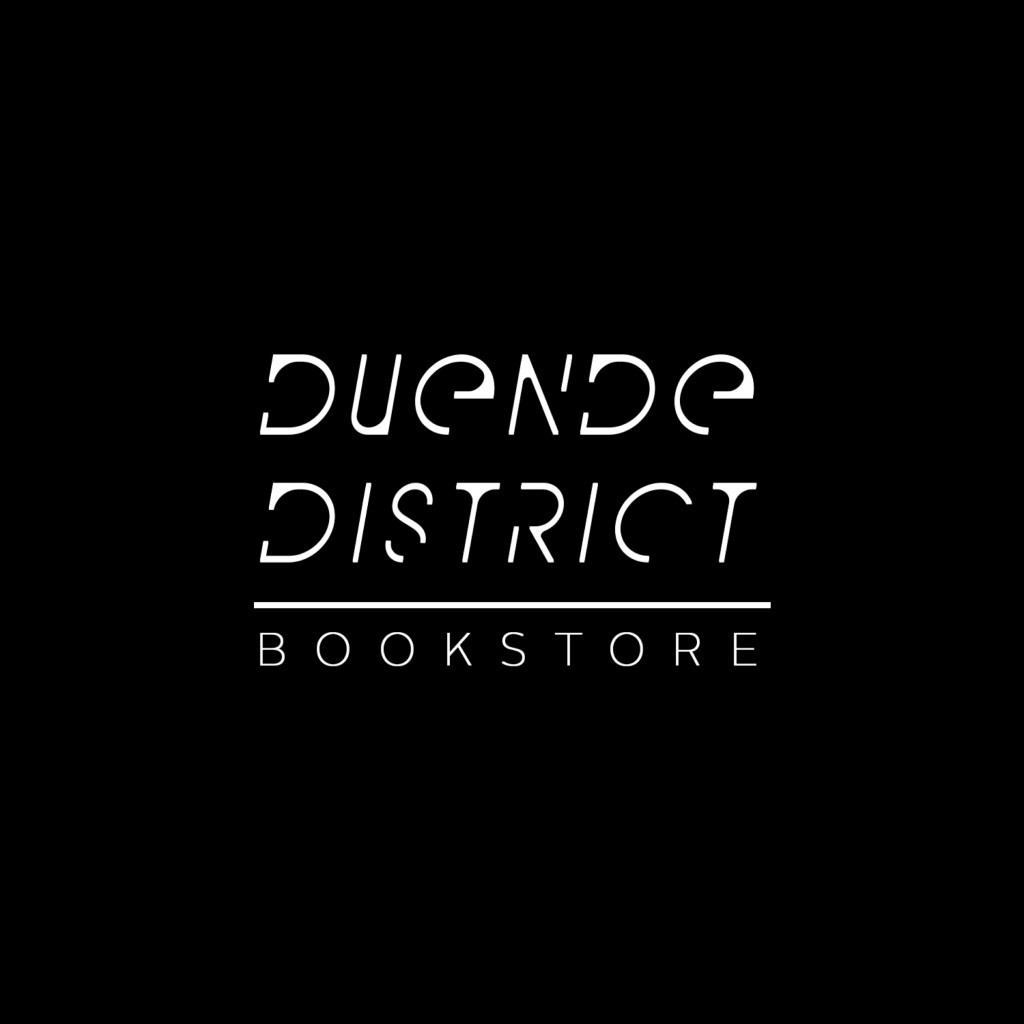 White Duende Bookstore logo with a black background