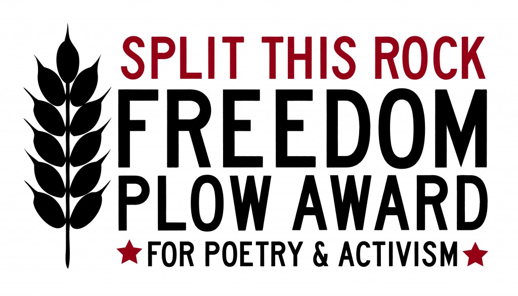 Logo of the Freedom Plow Award with Split This Rock at the top of the image in dark red, a head of wheat on the left in black, the name of the award in large letters in the middle of the image and accented by two dark red stars around the bottom phrase