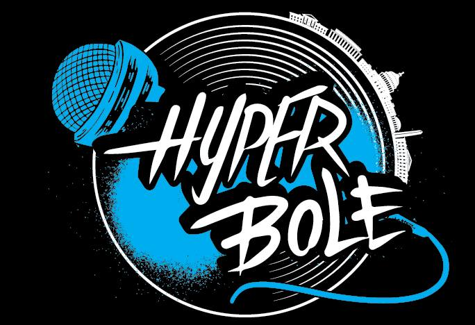 Image of Hyper Bole logo. The words Hyper Bole appear over black, white, and blue images of a microphone, concentric circles, and the outline of DC buildings.