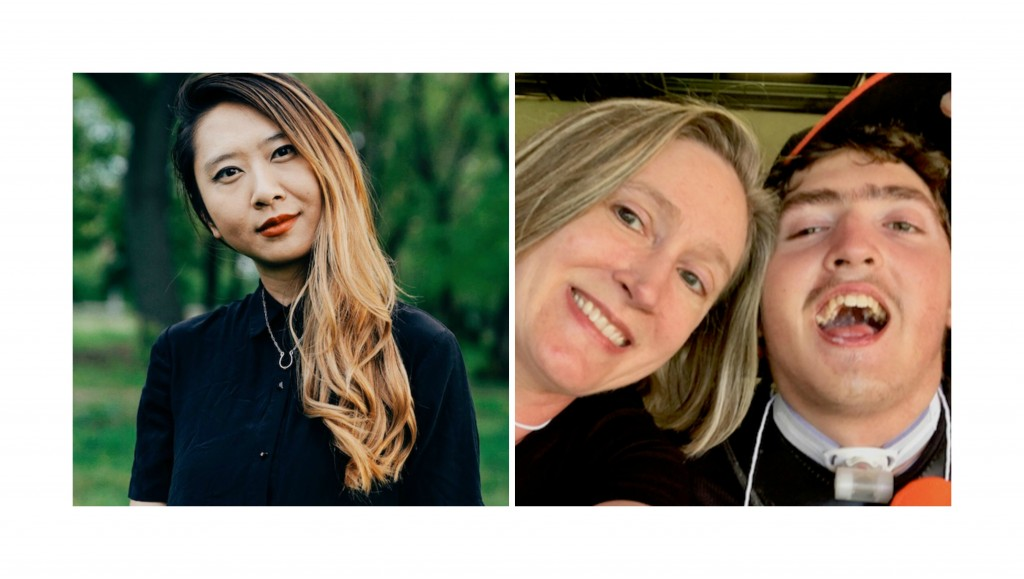 Photo collage with Sally Wen Mao (on the left) and Jeneva and Robert Stone (on the right).