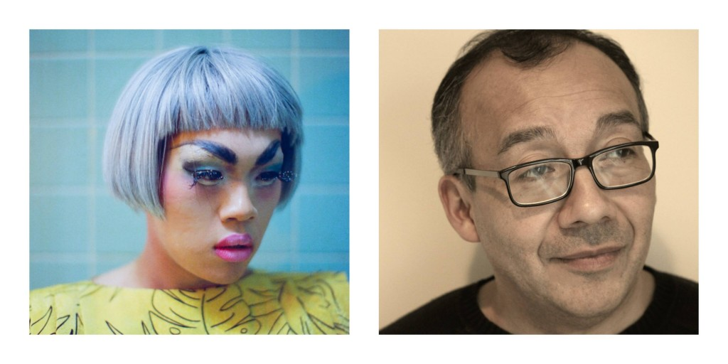 Photo collage of Wo Chan in drag on the left and Jose B. Gonzalez on the right