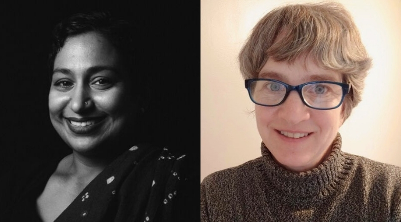 Collage image of Sunu Chandy and Amy Young. Sunu appears in black and white with a bright smile. Amy has a slight smile and wears a brown turtleneck sweater and eye glasses.