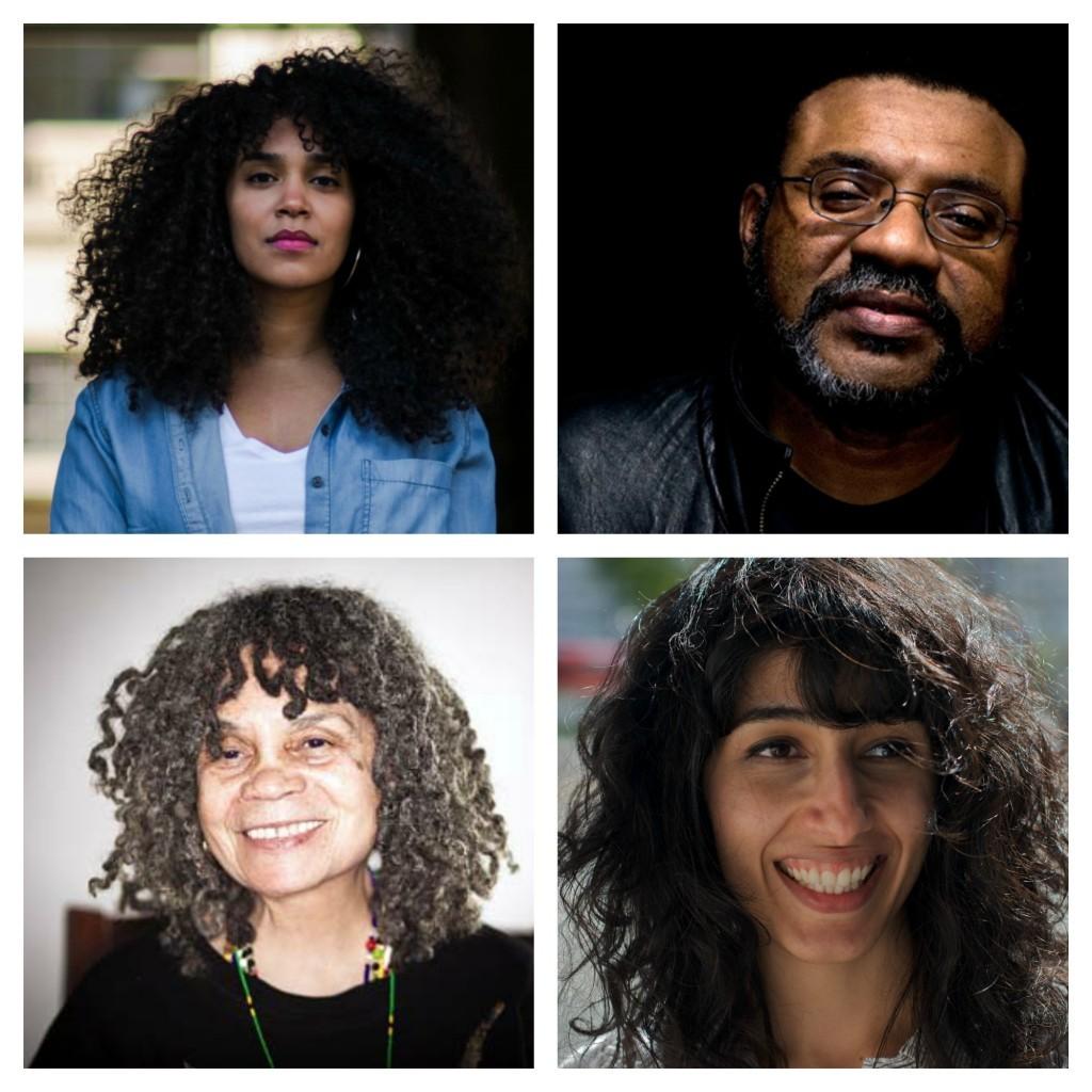 Photo collage of Elizabeth Acevedo (top left), Kwame Dawes (top right), Sonia Sanchez (bottom left), Solmaz Sharif (bottom right)