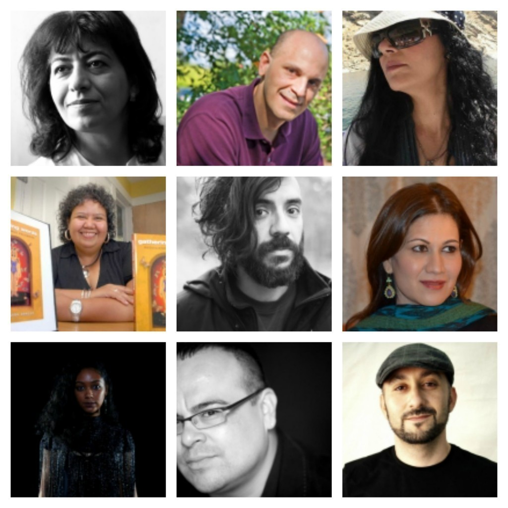 Photo collage of poets featured in March's migration series