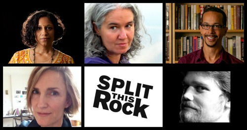 Photo collage of Gowri, Melissa, Hayes, Ailish, Split This Rock's logo, and Chris August