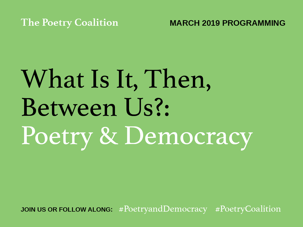 Poetry Coalition logo. A green box with the Poetry Coalition's name, the 2019 theme, and social media platforms in it.