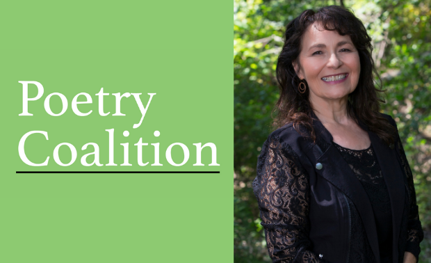 Light green rectangle with Poetry Coalition logo on the left and a photo of poet and workshop facilitator Kimberly Blaeser on the right. Kimberly Blaeser is standing in a wooded area, wearing a long-sleeved black lace jacket and Indigenous geometric print skirt.