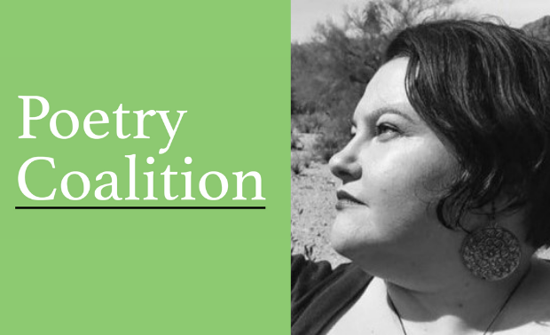 Light green rectangle with Poetry Coalition logo on the left and a photo of poet and workshop facilitator Naomi Ortiz on the right. Naomi Ortiz, a light-skinned Mestiza with short dark hair, wears an earring with a concentric circle design that swings below her hairline. She appears in black and white and looks intently to the side. The backdrop is a mountain, cacti, and desert trees.