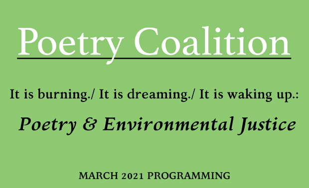 Light green rectangle with Poetry Coalition logo and text that says