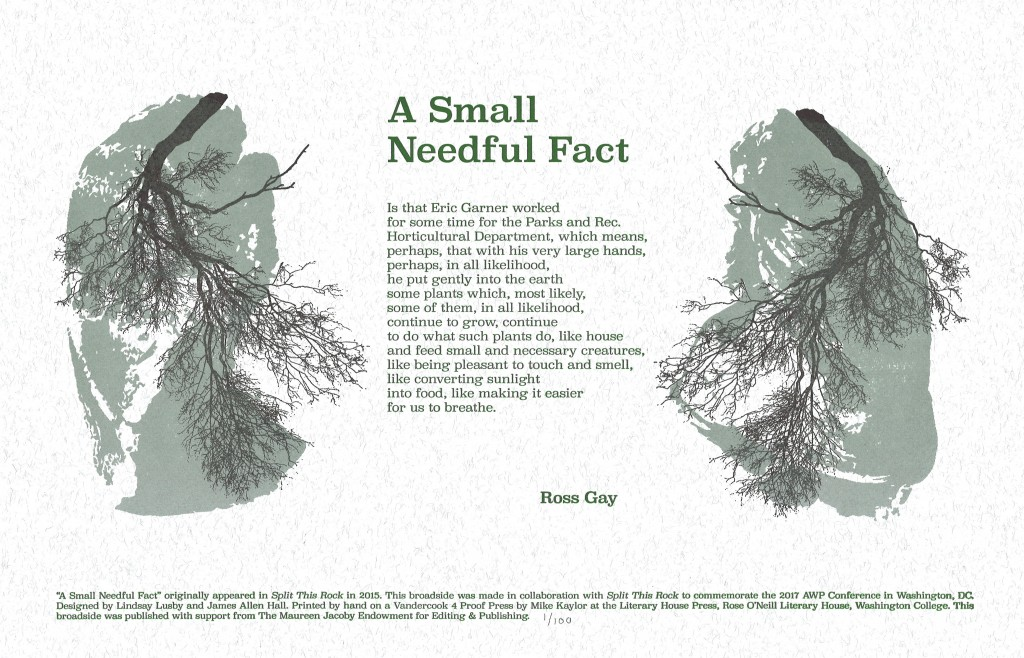 Trees like lungs printed with a poem