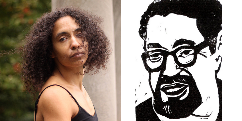 Collage of images of poets Nicole Homer and Sami Miranda. Nicole Homer stands in the Brooklyn Botanical Gardens in a black sleeveless shirt looking over their right shoulder at the camera. Sami Miranda's self portrait is a linoleum block print of his face. He is wearing glasses and has a beard.