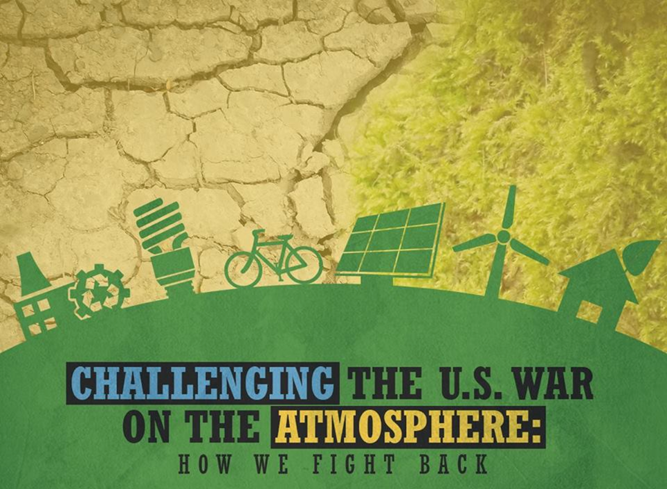 Logo for Challenging the U.S. War on the Atmosphere event. Includes a green earth with various green images on top of that such as a bicycle and a windmill. Above that, where there would be sky, is a photgraphic image of cracked tan earth next to faded light green grass.