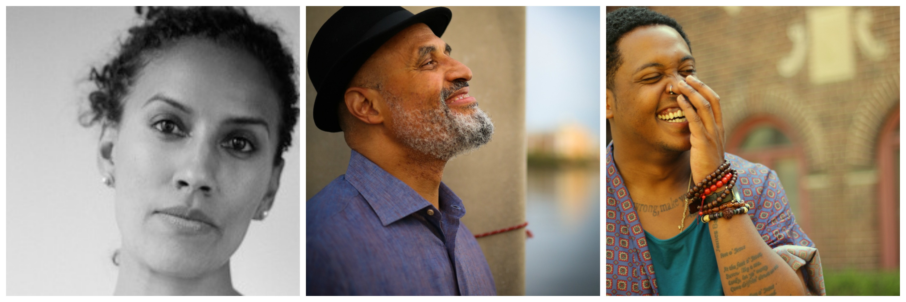Photo collage of Aracelis Girmay, Tim Seibles, and Danez Smith (from left to right)